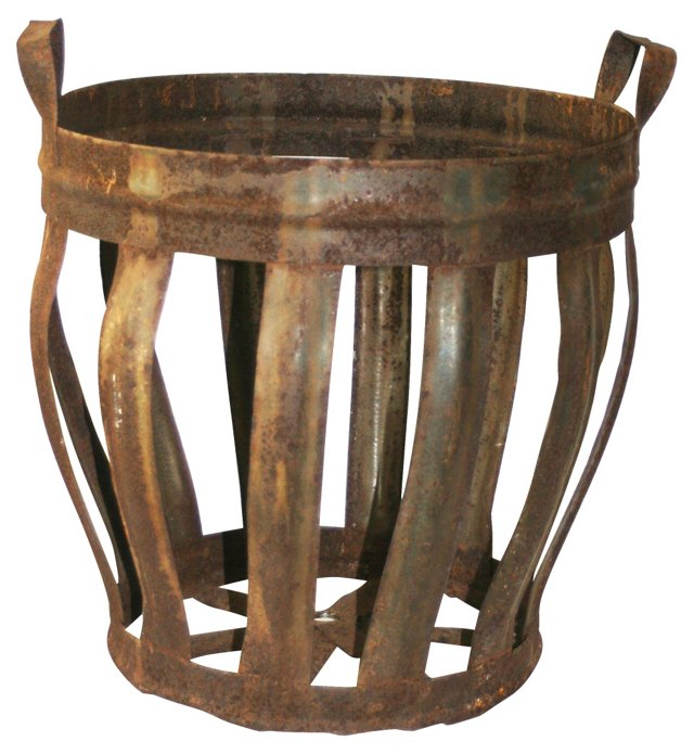 French Metal Strap Basket