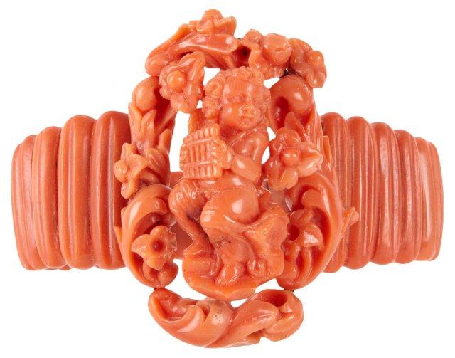 19th-C. Coral Cameo Cuff