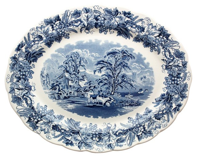 Blue & White Transferware Platter