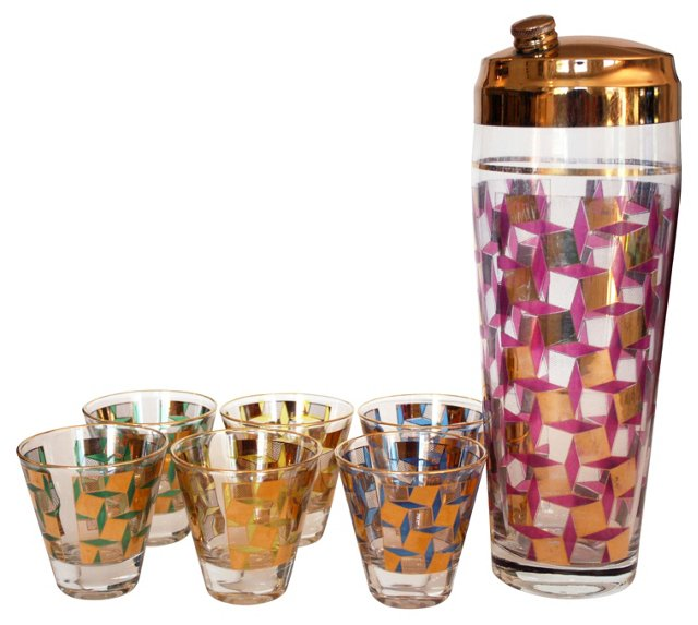 Midcentury Cocktail Set, 7 Pcs
