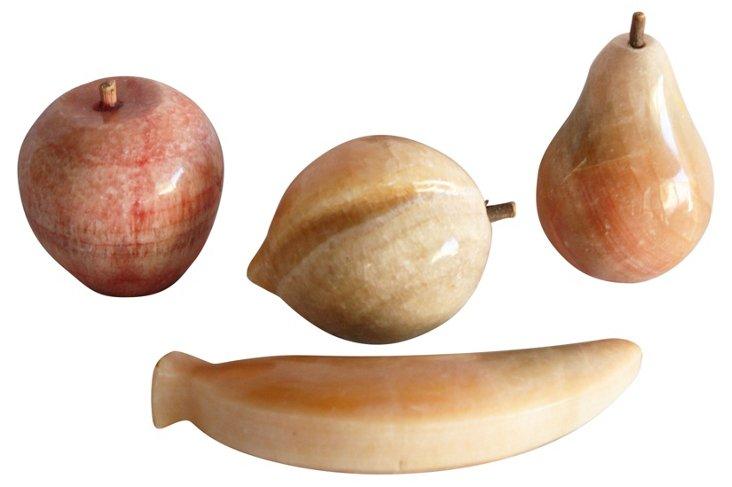 Alabaster Fruit, Set of 4