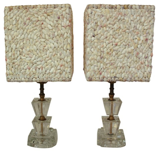 Seashell Shades & Glass Lamps, Pair
