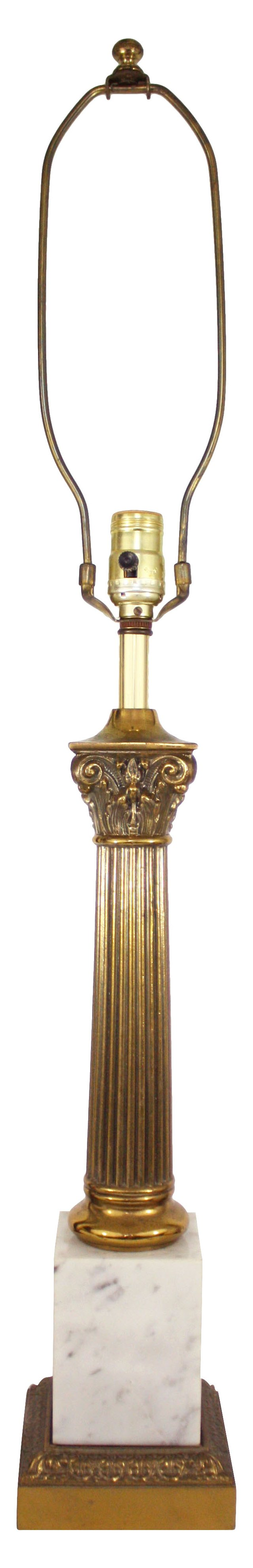 Greek Column Marble & Bronze Lamp
