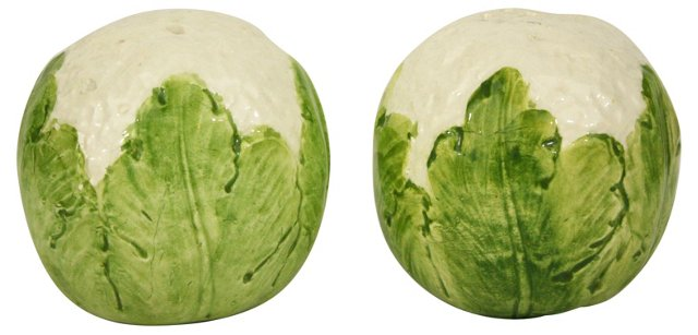 Majolica Cabbage Salt & Pepper