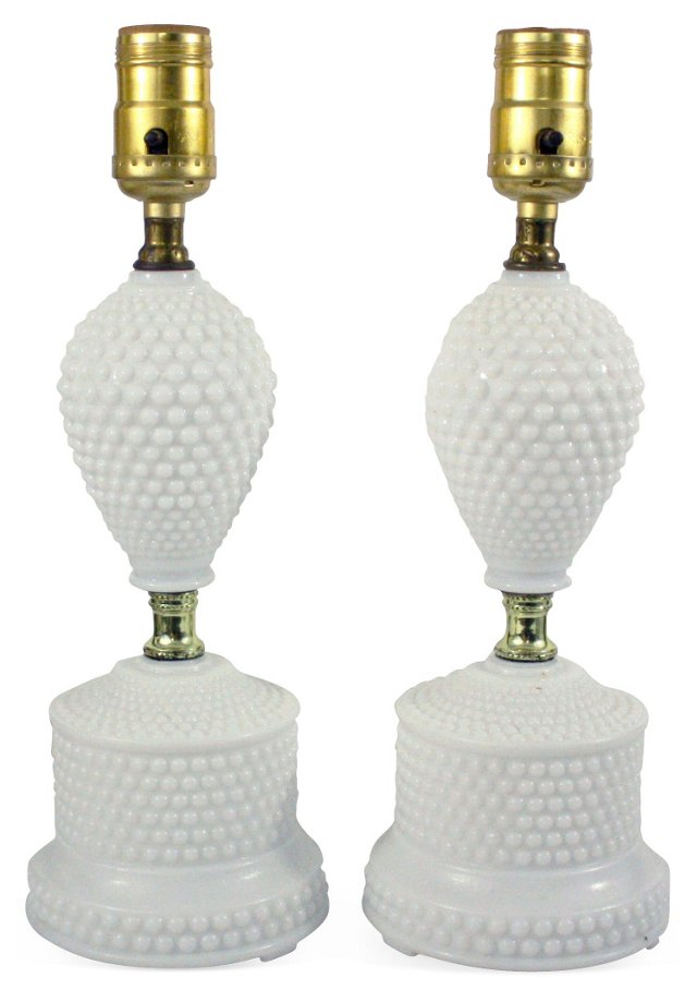 Hobnail Milk Glass Lamps, Pair