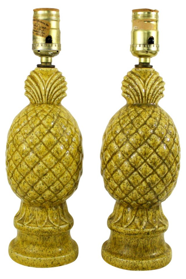 1950s Porcelain Pineapple Lamps, Pair