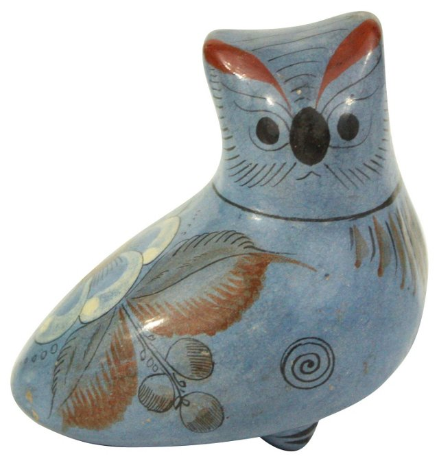 Mexican Hand-Painted Blue Owl