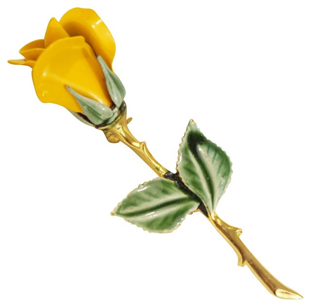 Yellow Rose Brooch