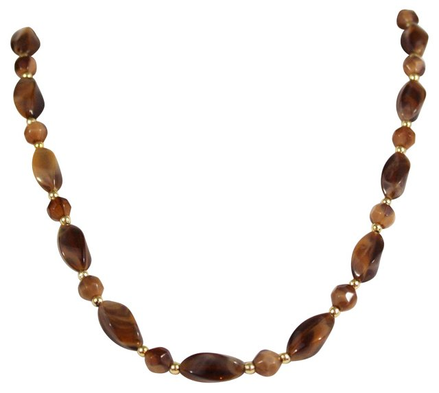 Chocolate Brown Lucite Necklace