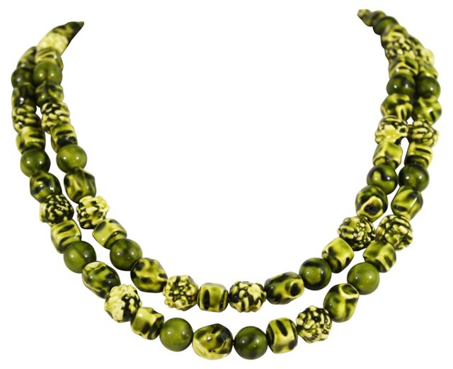 1950s Green Bead Necklace