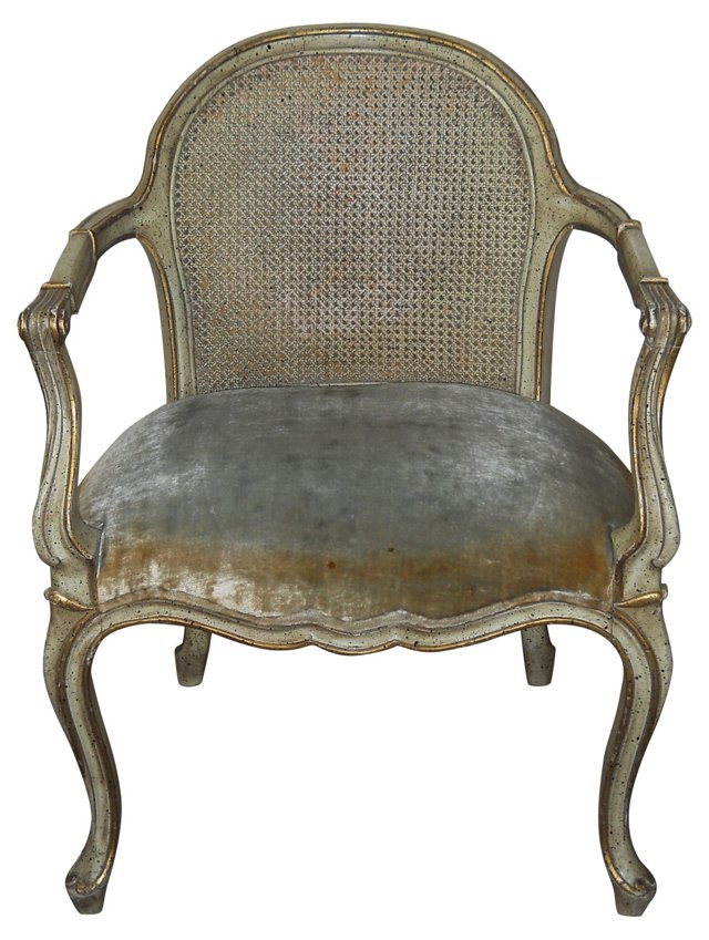 1950s Italian Caned-Back    Chair