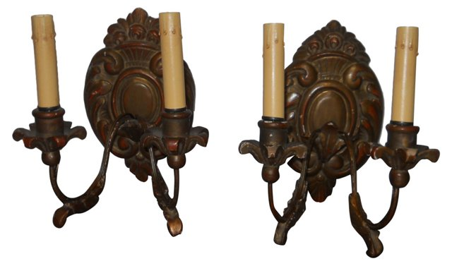 French Wood Sconces, Pair