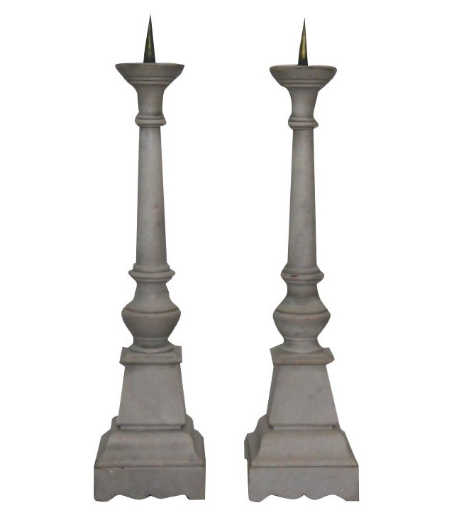 Marble Candlesticks, Pair