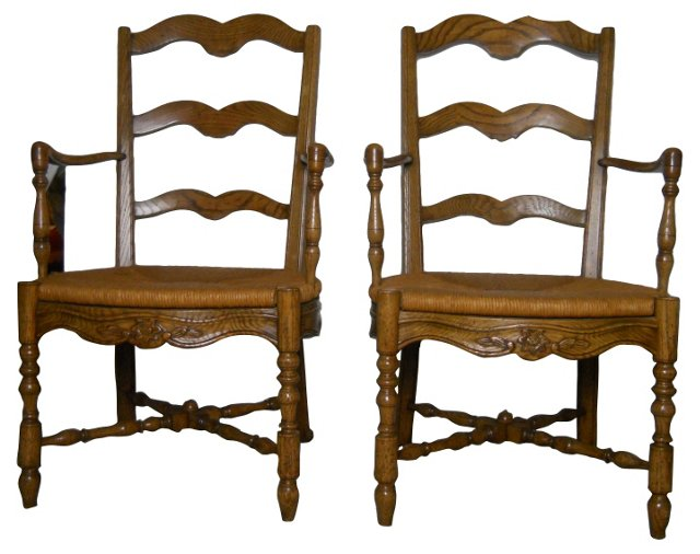 Ladder-Back  Chairs, Pair