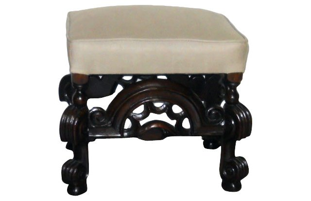 19th-C. French  Stool w/ Linen