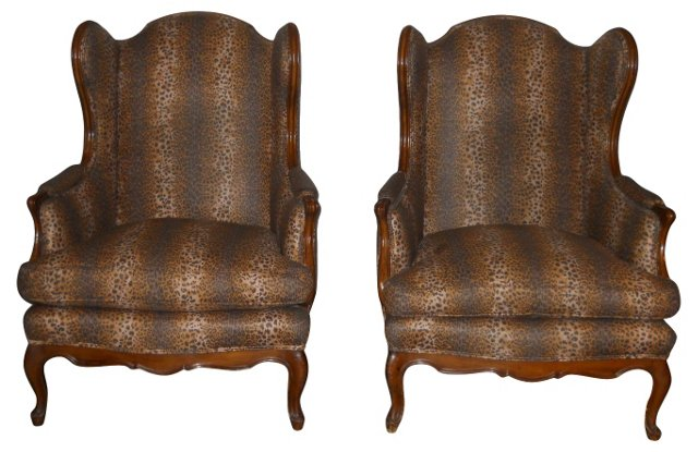 Wingback Chairs, Pair