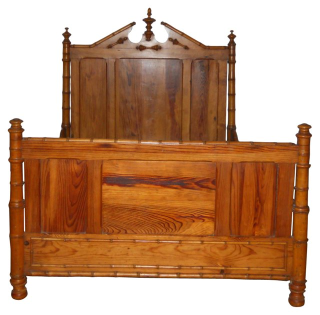 19th-C.  Bamboo Bed Frame