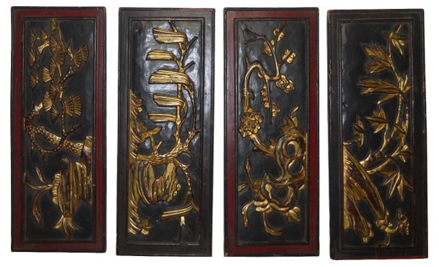 Asian Wood Plaques, S/4