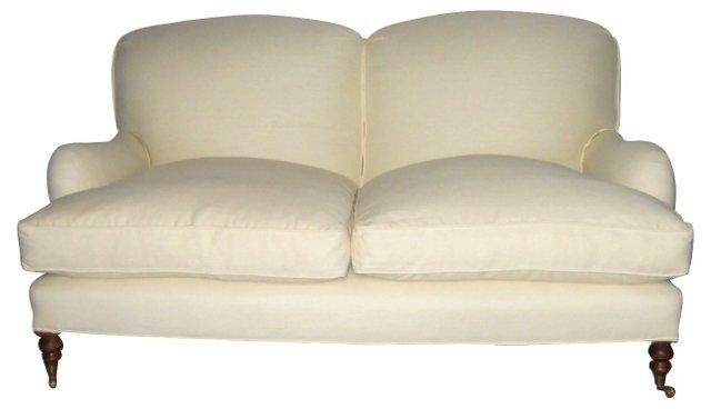 Linen-Upholstered  Loveseat