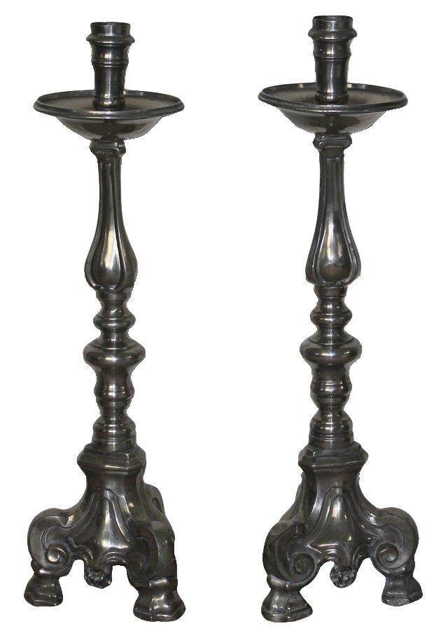 Pewter Candlesticks, Pair