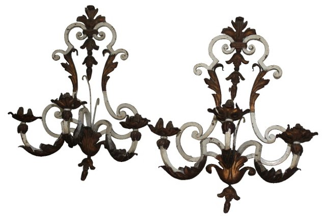 Iron Wall Sconces, Pair
