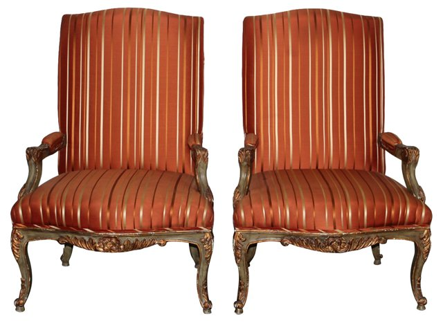 Italian High-Back  Chairs, Pair