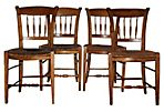 French Rush Seat Chairs, S/4