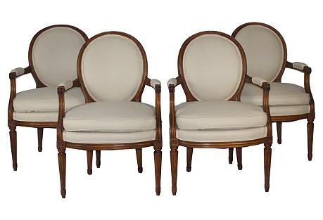 Louis XVI-Style Armchairs, Set of 4