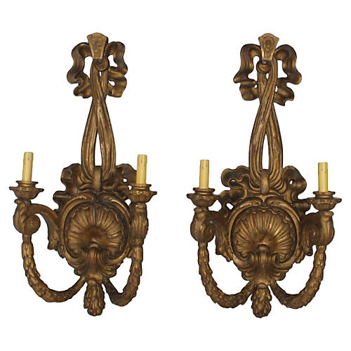 Antique French Giltwood Sconces, Pair