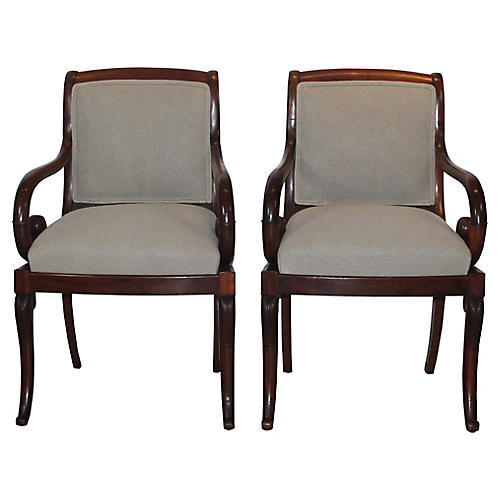 19th-C. Armchairs, S/2