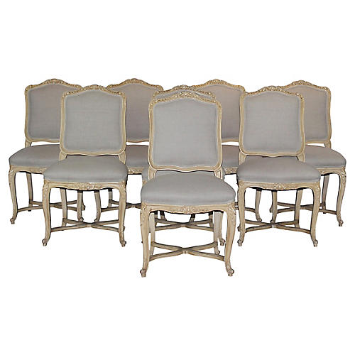 Louis XV-Style Dining Chairs, S/8