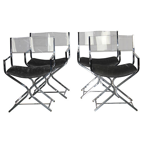 Chrome & Lucite Chairs, S/4