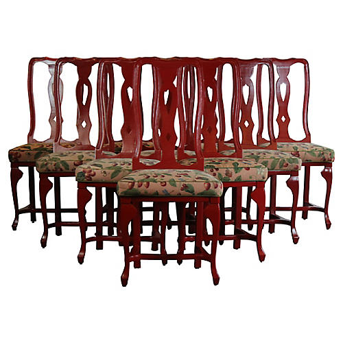 Red Dining Chairs S/10