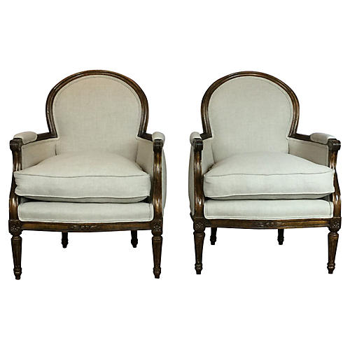 Club Chairs, Pair