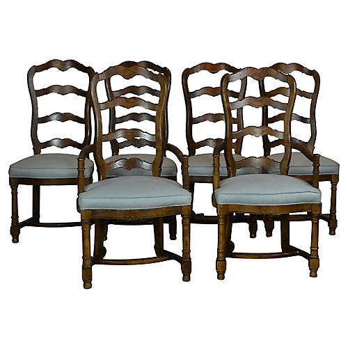 Ladder-Back Chairs, S/6