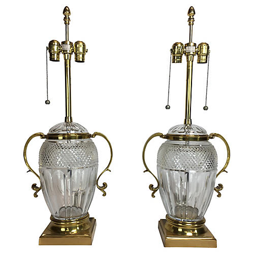 Marbro Crystal Table Lamps, Pair