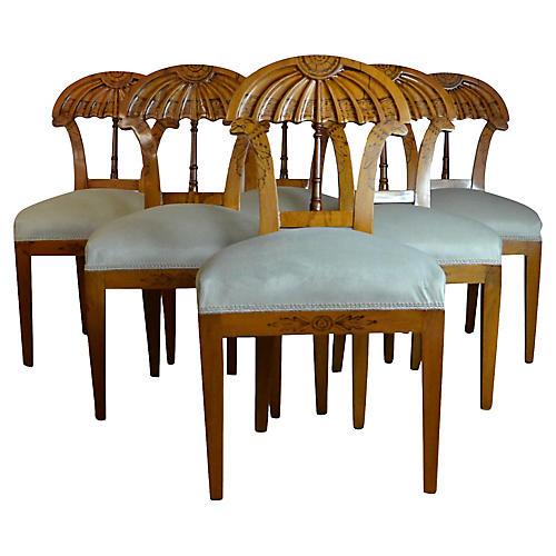 Biedermeier-Style Dining Chairs, S/6