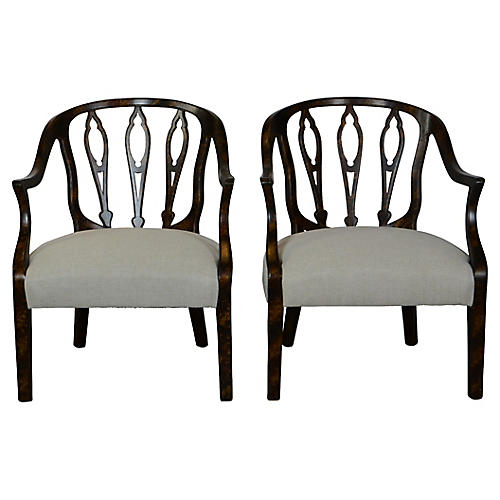 Faux-Finished Armchairs, Pair