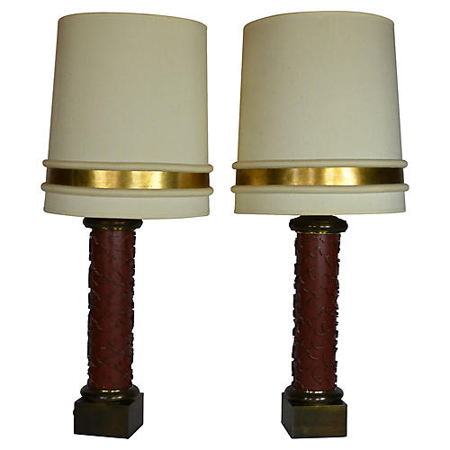 Asian-Inspired Wallpaper Roll Lamps, S/2