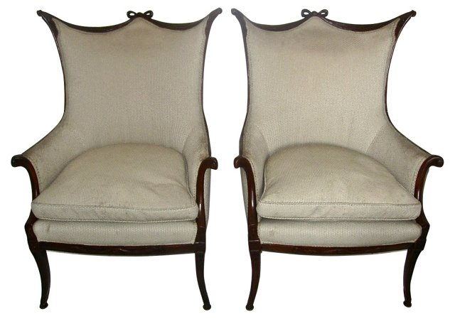 Regency-Style Wing Chairs, Pair
