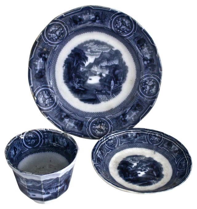 Early-19th-C. Flow Blue Dishes, S/3