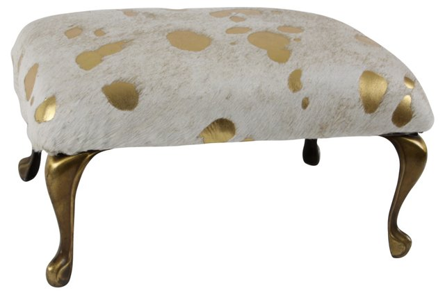 Stool w/ Gold Hide Upholstery