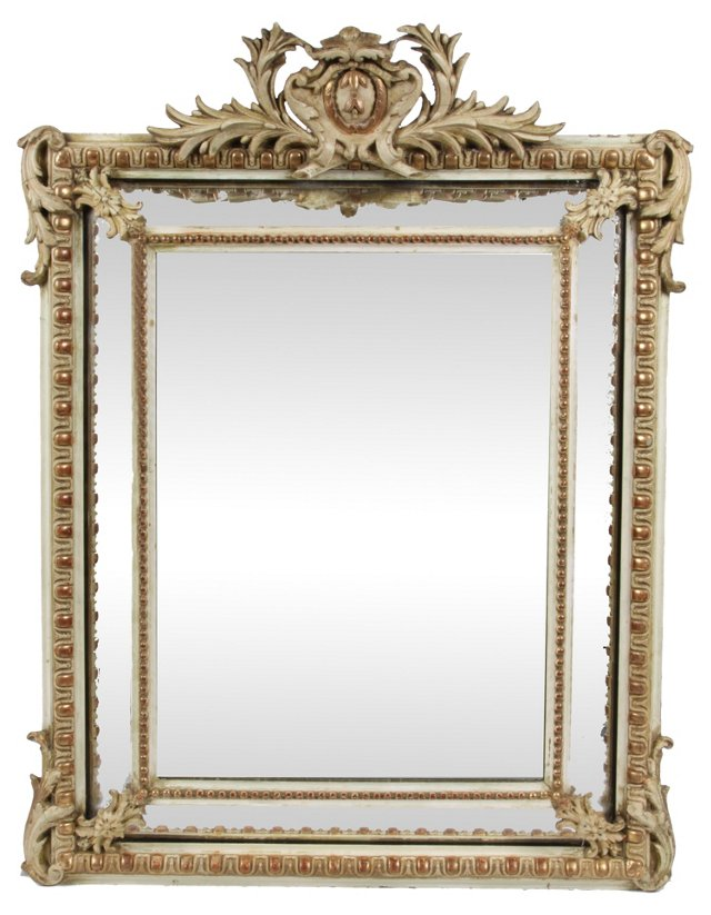 19th-C. French Beveled Mirror