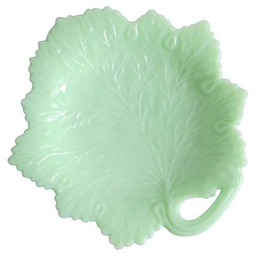 Fenton Milk Glass Leaf Plate