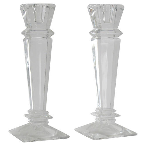 Crystal Candlesticks, Pair