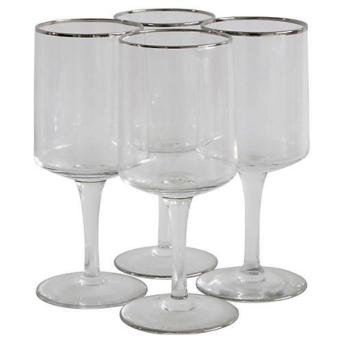 Wine Stems w/ Silver Rims, S/4