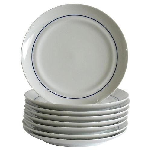 Blue & White Dessert Plates, S/8