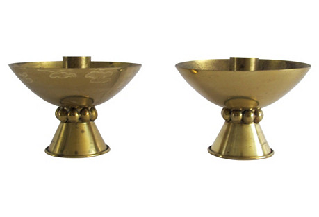 Midcentury Brass Candleholders, Pair