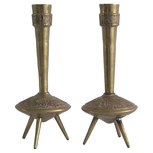 Atomic-Style Candleholders, Pair