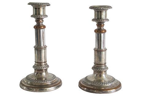 Adjustable Silver Candlesticks, Pair